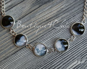 Moon phases necklace, planets, solar system