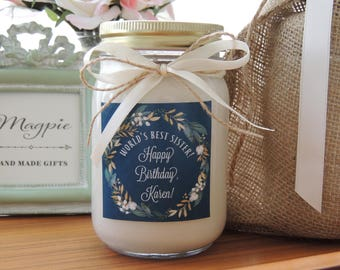 Custom Soy Candle//Vibrant Custom Label//Matching Satin Ribbon//Personalized Gifts//Happy Birthday Candle//Happy Birthday Sister