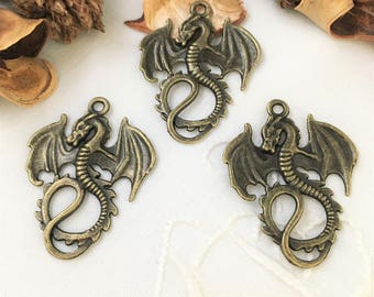 trinket dragon pendant bronze for designs in jewelry, accessories...