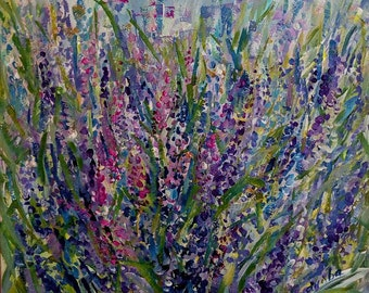 Lavender  40x40 cm original acrylic painting on cardboard Fit well as in Provence so in Country style Wild flowers painting Wall  Art decor