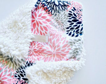 READYTO SHIP, Baby Girl Lovey, Baby Girl Blanket, Floral Baby Blanket, Minky Blanket, Soft Baby Blanket, floral blanket, lovey, girl lovey,