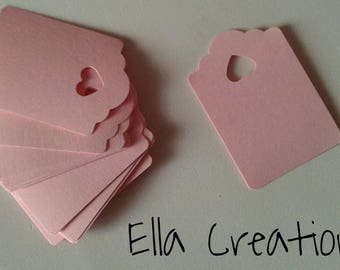 50 pink Labels tags for your creations
