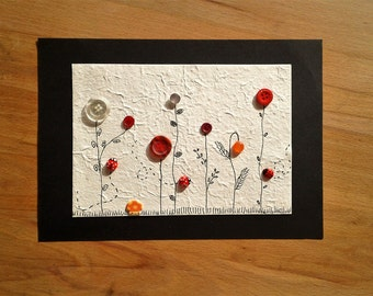 Flower meadow button postcard XXL