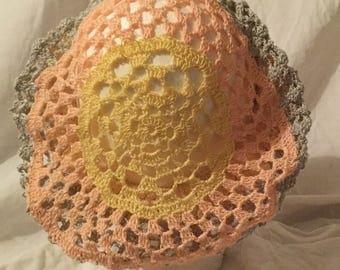 Cream, Silver, yellow, peach Crocheted Snood