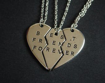 set of three best friends forever necklaces