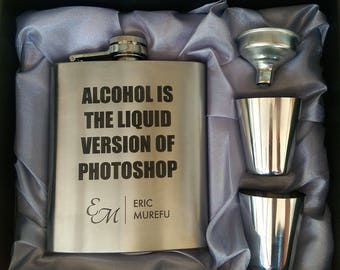 Alcohol Photoshop // Gift for Him // Funny Flask // Hip Flask for Men // His 21st Birthday Gift // 7 oz