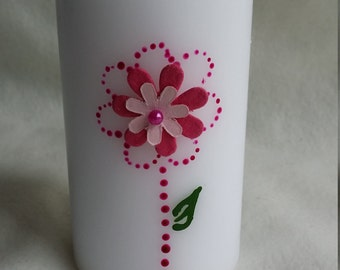 Personlaised pillar candle handmade/gifts/love/butterflies/flowers/unique/madetoorder/love
