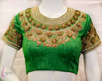 Hand Embroidered Green Saree Blouse