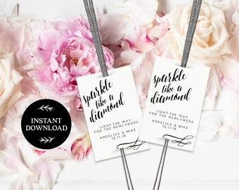 Sparkler Send Off Tag INSTANT DOWNLOAD Editable Sparkler Tag, Let Love Shine Sparkle, Sparkler Send Off, Wedding Sparkler Tags - Florence