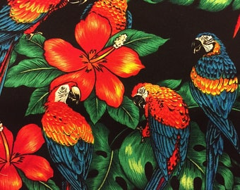 Tropical Birds Fabric Black With Macaws Orchids Cotton By The Yard 36 Inches Long