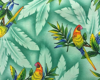 Tropical Birds Fabric Mint Green With Parrots Cotton By The Yard 36 Inches Long