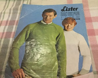 Vintage Lister Mens Lavenda Sweater Knitting Pattern N1539