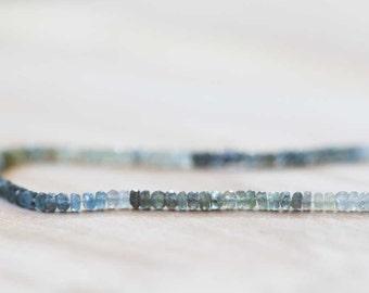 Moss Aquamarine Rondelles, Half or Full Strand, 3.5-4mm Moss Aquamarine Beads, Faceted