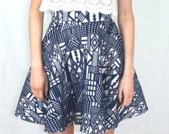Aztec Skater Skirt Blue and White