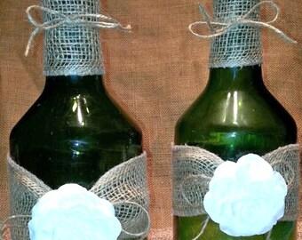 Wine Bottles, Set of 2, decorative bottles, vintage wine bottles, wine bottle decor, rustic wine bottles, flower vase, vintage flower vase