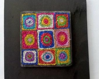 Kandinsky-inspired glitter art