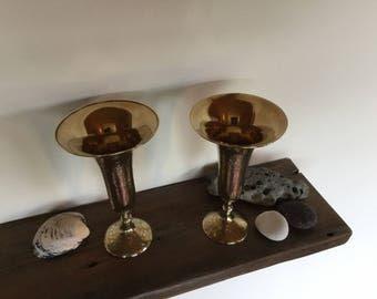 Vintage Indian brass trumpet vases