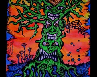 Flag freaky tree, 100 x 64 cm, hand painted