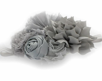 Gray Baby Shabby Fabric Flower Cluster Headband