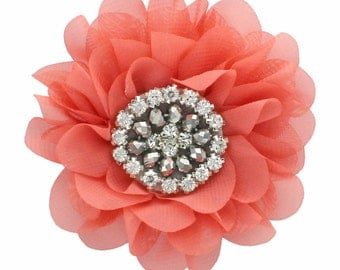 Chiffon Jewelled Hair Flower Clip - Light Coral