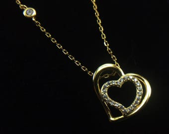 Necklace silver gold plated heart