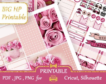 BIG Happy Planner 2018 Stickers Weekly kits Beige and pink roses Happy Planner Printable Floral Sticker Vertical stickers kit Silhouette