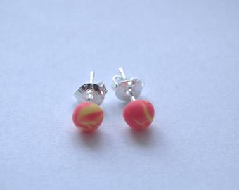 Handmade Silver Polymer Clay Stud Earrings