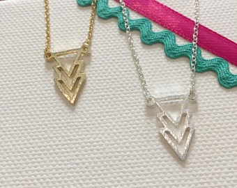 Geometry triangles, minimalist necklace