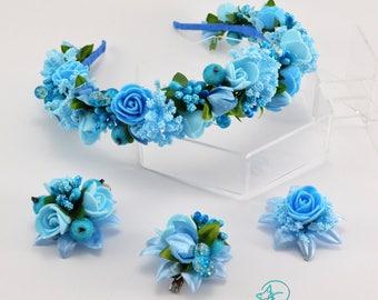 Light blue headbands Hair clips Flower crown Floral hair wreath Flower headpiece Flower accessories Hairpicks Hairpins Valentine's day gift