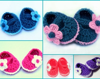 BABY BOOTIES SHOES with flower acrillic yarn soft and safe slippers  for newborn