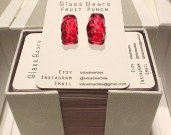 Fruit Punch Glass Bear Earrings