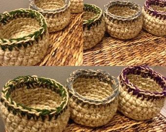 Crochet Jute Basket - Set of 3 Small Baskets