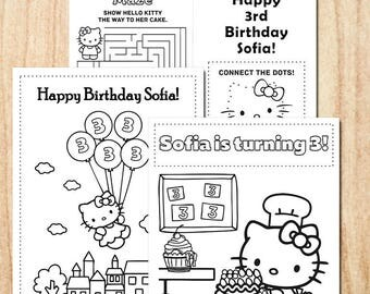 Hello Kitty Birthday Party Coloring pages / Personalized / Printable / Party Activity Pages / Digital PDF, JPG files
