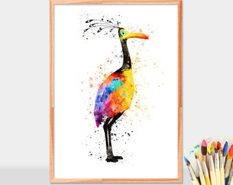 Bird Kevin watercolor, Kevin print, Kevin poster, Flying House, Kevin Bird , Kids Room Decor,wall art, Watercolor