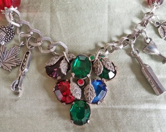 Upcycled Vintage Elements:  Grape Cluster & Wine Themed Charms Necklace