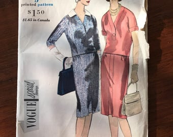 Vintage Vogue 'Special Design' Pattern - Two Piece Dress - 1960 - Size 12, Bust 32, Hip 34
