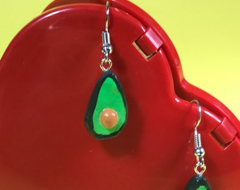 Avocado shaped polymer clay charm drop earrings