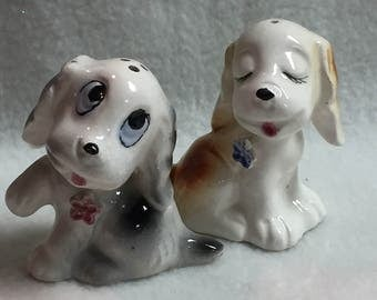 Salt and Pepper - Two Dogs with Flowers (Orange/Cream, Gray/Cream) (#023)