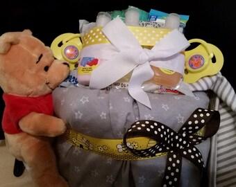 Pooh bear hunny pot diaper cake