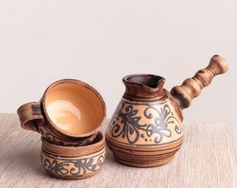 Turkish coffee Set, Handmade ceramic, stoneware, Coffee maker set, pottery, rustic pot, clay pot, eco friendly, Gift for her, coffee maker