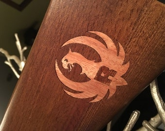 Customized Ruger 10/22 stock with mahogany inlayed Ruger logos
