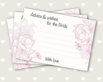 15, 20 or 25x Advice & wishes for the Bride. Hen Party Game. Words of Wisdom cards. 15 cards in an organza bag