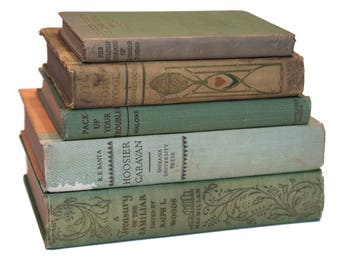 Set of Light Green & Brown Old Books for Decor, Book Gift, Vintage Library, Instant Library, Antique Collection, Vintage Book Themed Wedding