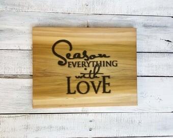 Wood Cutting Board - Kitchen Cutting Board - Wooden Chopping Board - Housewarming Gift - Wood Chopping Board - With Love - Kitchen Decor