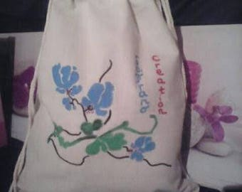 cotton backpack blue flowers