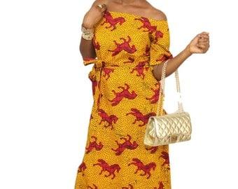 Jumping Horse African Ankara Maxi Dress