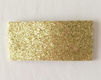Gold fine glitter snap clip OR alligator clip
