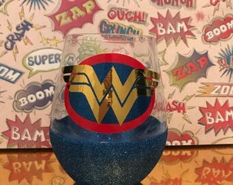 Wonder Woman wine glass- made to order
