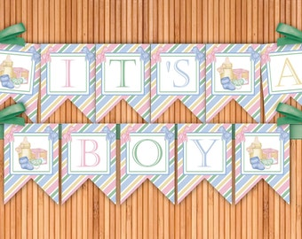 All Things Baby - It's A Boy Printable Banner - Instant Download