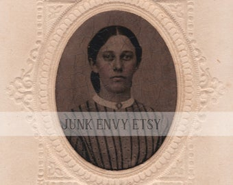 Antique Embossed Tintype Photograph . Civil War Era Woman . Digital Download . High Resolution Scan